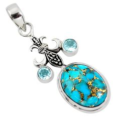 14.88cts blue copper turquoise topaz 925 sterling silver pendant jewelry p56776