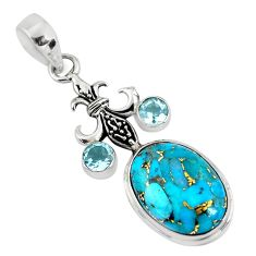 13.71cts blue copper turquoise topaz 925 sterling silver pendant jewelry p56778