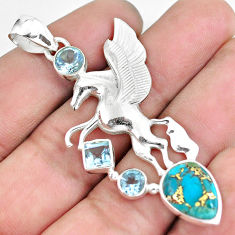 8.72cts blue copper turquoise topaz 925 sterling silver unicorn pendant p59310