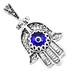 3.22cts blue evil eye talismans 925 silver hand of god hamsa pendant c2725