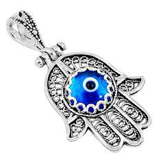 3.06cts blue evil eye talismans 925 silver hand of god hamsa pendant c2731