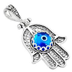 3.31cts blue evil eye talismans 925 silver hand of god hamsa pendant c2894