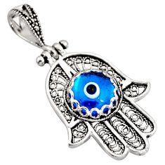 3.48cts blue evil eye talismans 925 silver hand of god hamsa pendant c5530