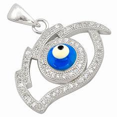 3.17cts blue evil eye talismans topaz 925 sterling silver pendant jewelry c4426
