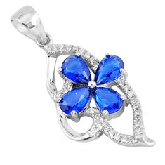 3.41cts blue sapphire (lab) topaz 925 sterling silver pendant jewelry c3506