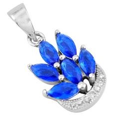 4.46cts blue sapphire (lab) topaz 925 sterling silver pendant jewelry c3525