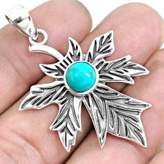 2.46cts blue sleeping beauty turquoise 925 silver leaf charm pendant p43258