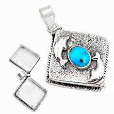 Blue sleeping beauty turquoise 925 silver poison box dolphin pendant p79944