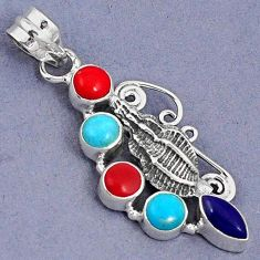 BLUE SLEEPING BEAUTY TURQUOISE LAPIS CORAL 925 SILVER SNAIL PENDANT G94702