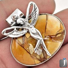 18.05cts BROWN MATRIX OPAL 925 STERLING SILVER ANGEL WINGS FAIRY PENDANT F50186