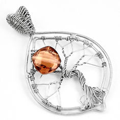 5.12cts brown smoky topaz 925 sterling silver tree of life pendant p43072