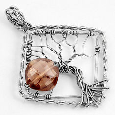 4.80cts brown smoky topaz 925 sterling silver tree of life pendant p43082