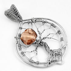 5.75cts brown smoky topaz cushion sterling silver tree of life pendant p43071