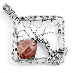 4.78cts brown smoky topaz cushion sterling silver tree of life pendant p43083