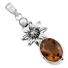 12.39cts brown smoky topaz pearl 925 sterling silver flower pendant p47229