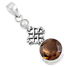12.70cts brown smoky topaz pearl 925 sterling silver pendant jewelry p47221