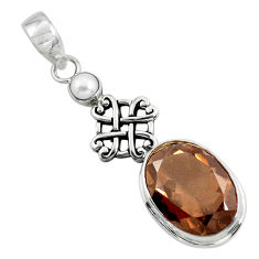 14.82cts brown smoky topaz pearl 925 sterling silver pendant jewelry p47232