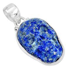 15.65cts carving natural blue lapis lazuli 925 silver skull pendant p35883