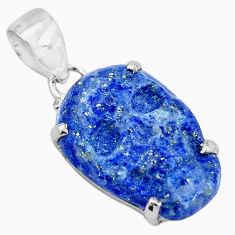 14.68cts carving natural blue lapis lazuli 925 silver skull pendant p35897