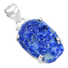 15.08cts carving natural blue lapis lazuli fancy 925 silver skull pendant p35888