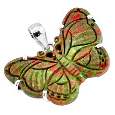 Carving natural green unakite 925 sterling silver butterfly pendant p47094