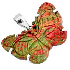 Carving natural green unakite 925 sterling silver butterfly pendant p47095