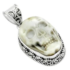 17.05cts carving white howlite 925 sterling silver skull pendant jewelry p77321