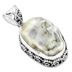 17.05cts carving white howlite 925 sterling silver skull pendant jewelry p77322