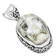 17.05cts carving white howlite 925 sterling silver skull pendant jewelry p77323