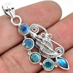 CHARMING NATURAL CANADIAN BLUE LABRADORITE 925 SILVER SEA SHELL PENDANT H31028