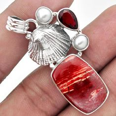 CHARMING RED SNAKESKIN JASPER 925 SILVER SHEEP CHARM PENDANT JEWELRY H43988