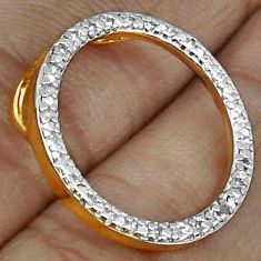 CIRCLE OF 14K GOLD NATURAL WHITE DIAMOND 925 STERLING SILVER PENDANT H19869