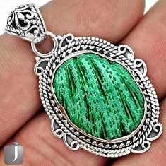 12.40cts CLASSIC GREEN CARDITA SHELL 925 STERLING SILVER PENDANT JEWELRY G31686