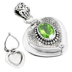 2.96cts color change green alexandrite (lab) silver poison box pendant p44940