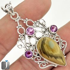 12.92cts COPPER IMPERIAL JASPER AMETHYST 925 STERLING SILVER PENDANT E4303