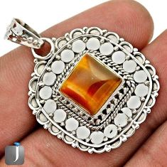 DAZZLING NATURAL BROWN TIGERS EYE 925 STERLING SILVER PENDANT JEWELRY G67258