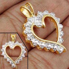 DAZZLING NATURAL WHITE DIAMOND 925 STERLING SILVER 14K GOLD HEART PENDANT H19861