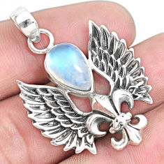4.73cts eagle feather natural rainbow moonstone pear 925 silver pendant p44560