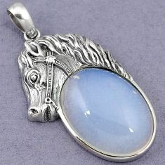 ELEGANT NATURAL WHITE OPALITE 925 STERLING SILVER HORSE PENDANT JEWELRY H39935