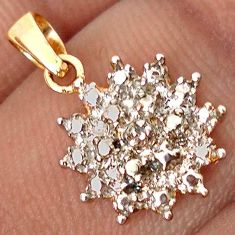 EXCELLENT NATURAL WHITE DIAMOND 925 STERLING SILVER 14K GOLD PENDANT H19874