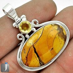 EXCLUSIVE YELLOW MATRIX OPAL CITRINE 925 STERLING SILVER PENDANT JEWELRY G23619