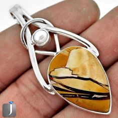 EXCLUSIVE YELLOW MATRIX OPAL PEARL 925 STERLING SILVER PENDANT JEWELRY G55292