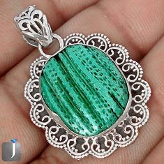 12.89cts EXOTIC GREEN CARDITA SHELL 925 STERLING SILVER PENDANT JEWELRY G12283