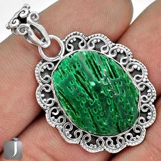 12.76cts EXOTIC GREEN CARDITA SHELL 925 STERLING SILVER PENDANT JEWELRY G31692