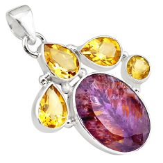 23.48cts faceted cacoxenite super seven (melody stone) 925 silver pendant p79741