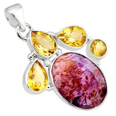 22.02cts faceted cacoxenite super seven (melody stone) 925 silver pendant p79745