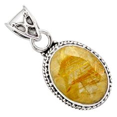 9.97cts faceted golden rutile 925 sterling silver pendant jewelry p84642
