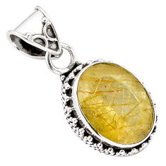 10.29cts faceted golden rutile 925 sterling silver pendant jewelry p84646