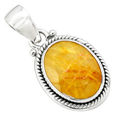 9.65cts faceted golden tourmaline rutile 925 sterling silver pendant p76503