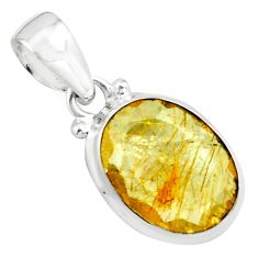 9.37cts faceted golden tourmaline rutile 925 sterling silver pendant p76514